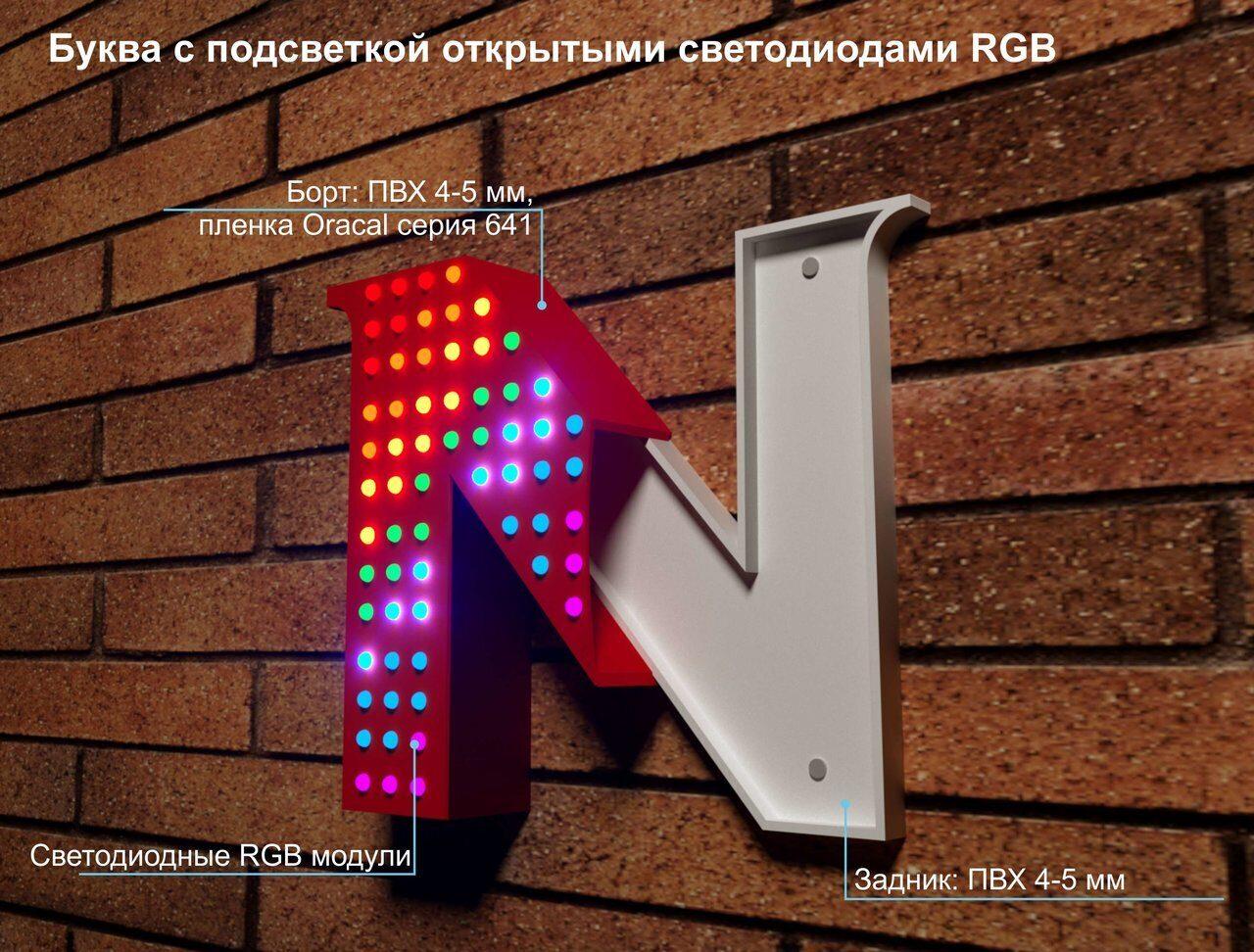 Буква с открытыми светодиодами RGB